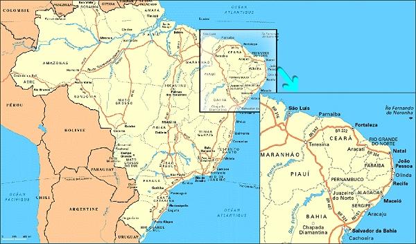 Carte Du Bresil Nordeste.Voyage Au Bresil Nordeste